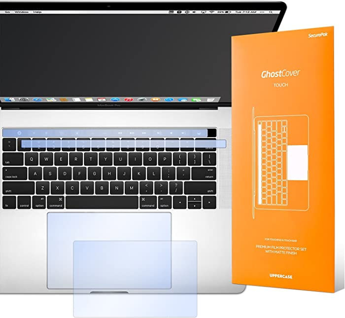"""UPPERCASE GhostCover Touch Premium Touch Bar and Trackpad Protector with Matte Finish, Compatible with 2016- 2019 MacBook Pro 13"""" Only (Does not Fit 2020 MacBook Pro 13"""")"""