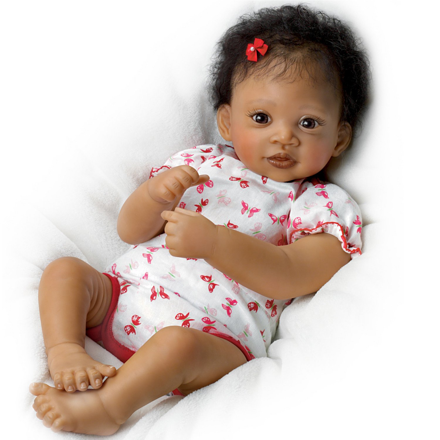 Sweet Butterfly Kisses Coos At Your Touch with Hand-Rooted Hair - So Truly Real® African-American Lifelike, Interactive & Realistic Newborn Baby Doll 19-inches by The Ashton-Drake Galleries by The Ashton-Drake Galleries