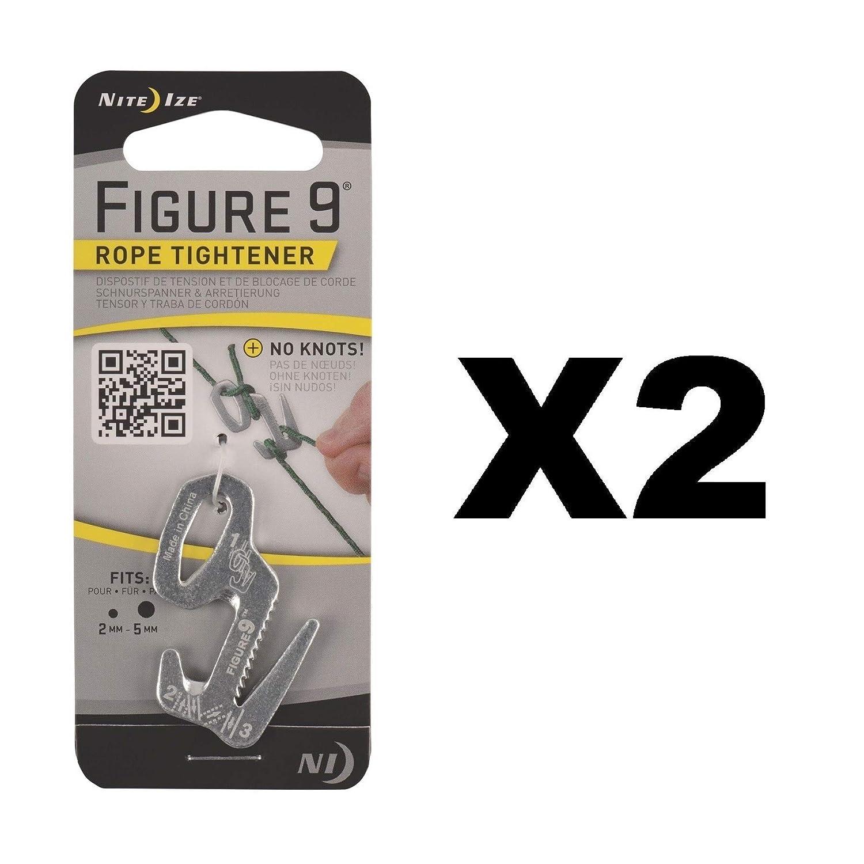 Nite Ize Figure 9 Rope Tightener Small Aluminum Tie Downノットツール( 2 - Pack )   B01MZAUOEZ