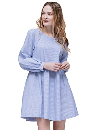 2bd60deed76e9 Pleione Linen Tied Back Flared Solid Tunic Dress in Long Sleeve BLUEWHITE M