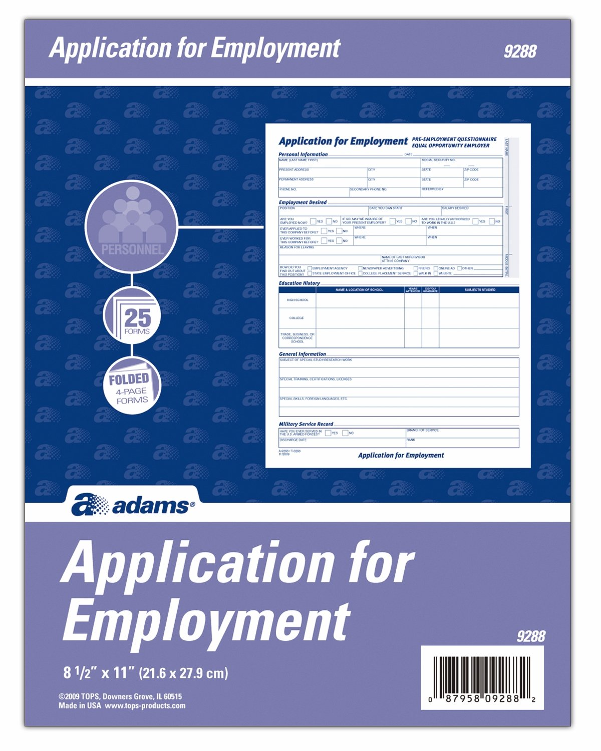 Amazon adams applications for employment 85 x 11 inch 25 amazon adams applications for employment 85 x 11 inch 25 pack white 9288abf application for employment office products falaconquin