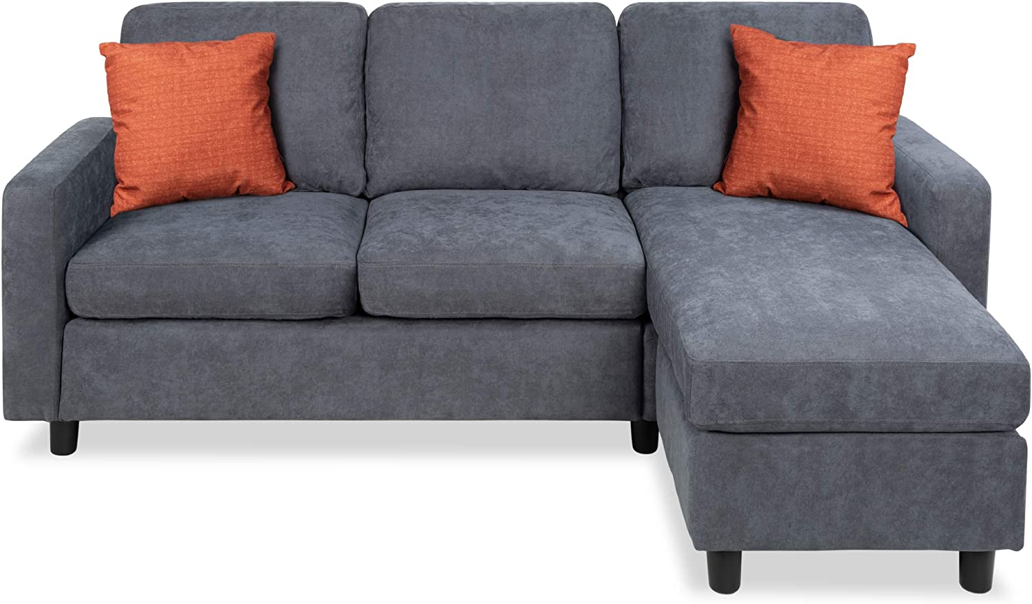 Best Choice Products Linen Sectional Sofa for Home, Apartment, Dorm, Bonus Room, Compact Spaces w/Chaise Lounge, 3-Seat, L-Shape Design, Reversible Ottoman Bench, 680lb Capacity - Blue/Gray