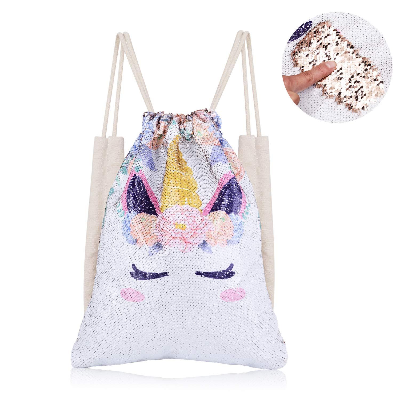 6d89a18cdda Xiaowli Unicorn Sequin Drawstring Backpack Mermaid Sequin Bag Magic  Reversible Glittering Bag Unicorn Gift for Girls Boy (B Unicorn 1 - Gold  Sequins)