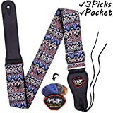 Anwenk Guitar Strap Acoustic Guitar Strap Bass Guitar Strap for Kids Adult with Pick Pocket 3 Guitar Picks Woven Hootenanny Cool Vintage Pattern with Tie for Acoustic Guitars,Purple