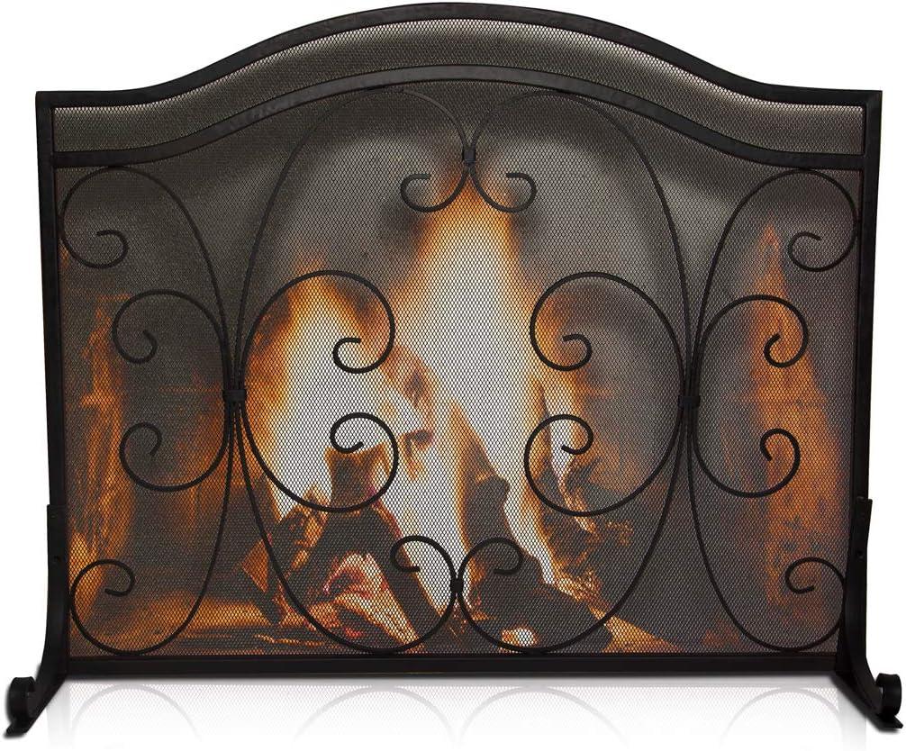 rustique et durable Pare-feu d/écoratif pour chemin/ée et porte avant avec grille en fer noir solide pour b/éb/é et animal de compagnie avec support antique