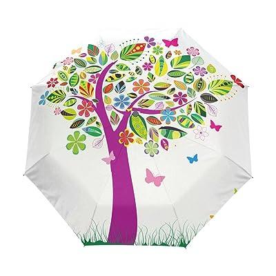 DOENR Compact Travel Umbrella Artistic Tree Sun and Rain Auto Open Close Umbrellas Portable Outdoor Folding Umbrella