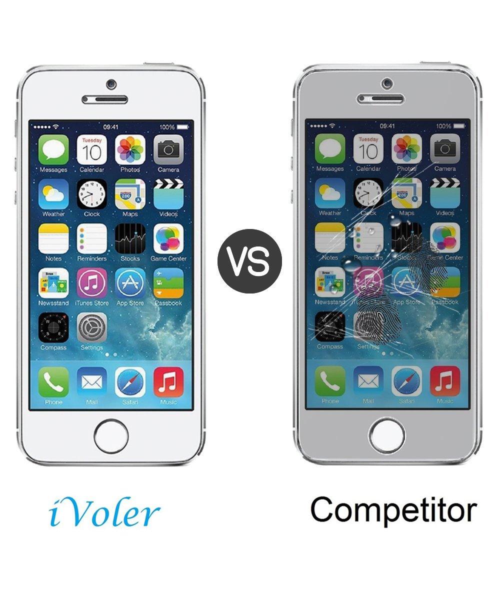 Cristal Vidrio Templado Premium Alta Definicion 0.3mm 2.5D Round Edge Protector de Pantalla para iPhone SE // 5S // 5 // 5C 4 Unidades 9H Dureza iVoler - Transparente