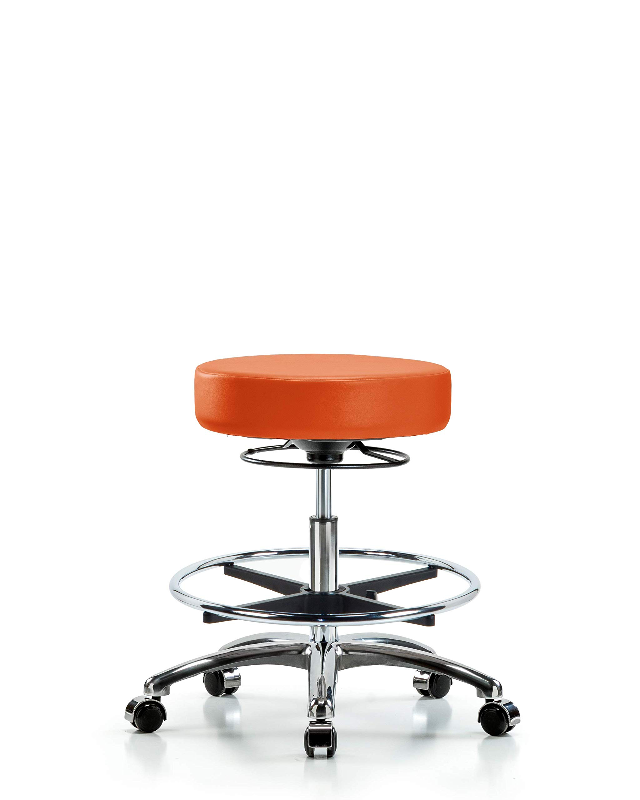 Adjustable Stool for Exam Rooms, Labs, and Dentists with Wheels - Chrome, Bench Height, Orange by LabTech Seating