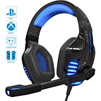 Gaming Headset Kopfhörer für PS4 / Xbox One/PC mit Mikrofon LED Licht, 3,5-mm-Headset, Omnidirektional Kompatibel (mit 2 in 1-Adapter) (Blau)