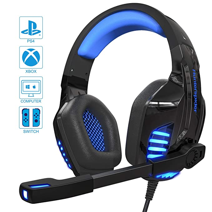 Cascos PS4 / PC / Xbox One,Auriculares Gaming Stereo con Micrófono para Mac Cascos Gaming con Bass Surround Cancelacion Ruido y 3.5mm Jack,Diadema Acolchada ...
