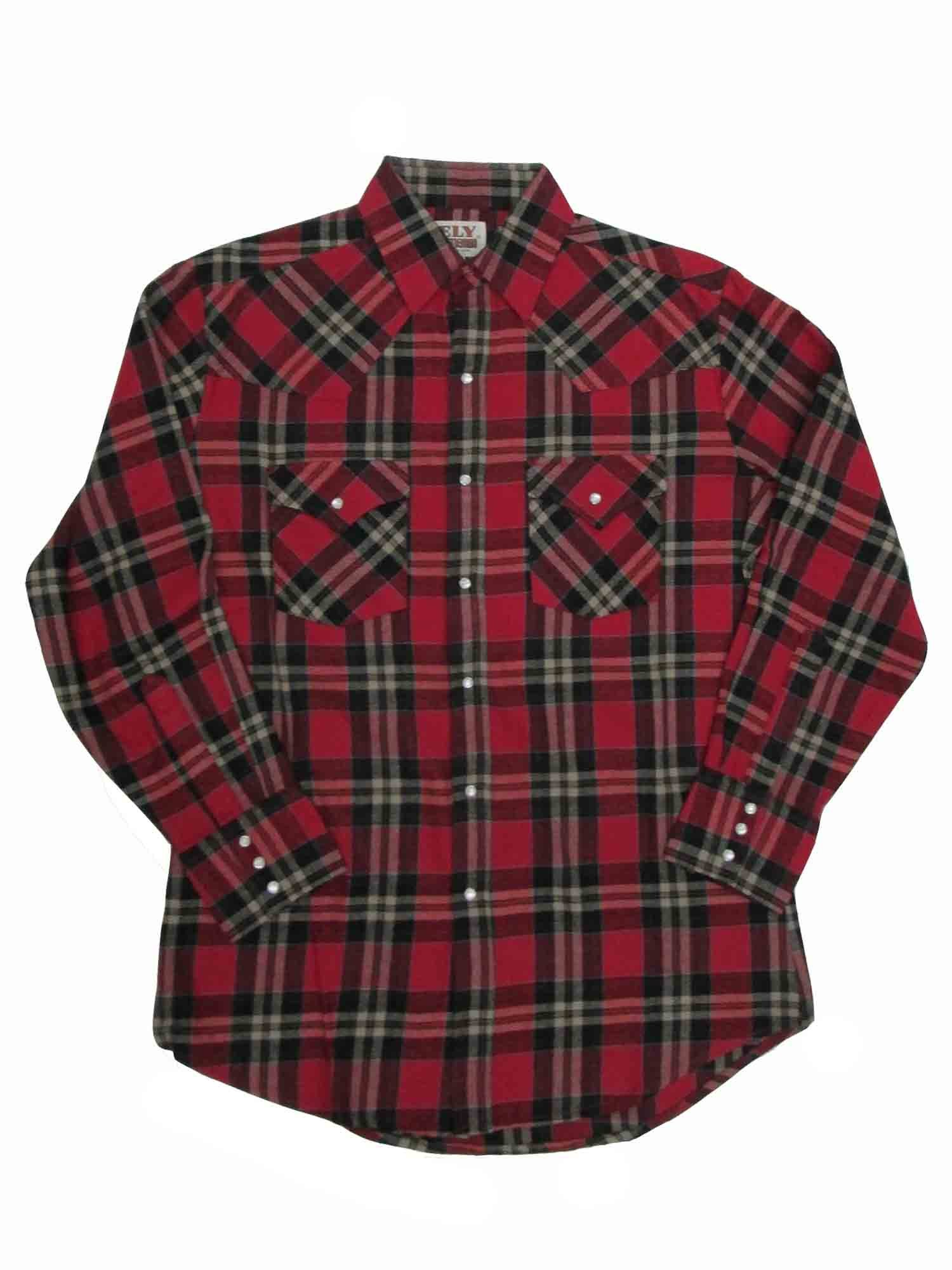 Ely Cattleman Tall Mens Western Brawny Heavy Duty Flannel Plaid 4-Shirt Bundle Pack by ELY CATTLEMAN