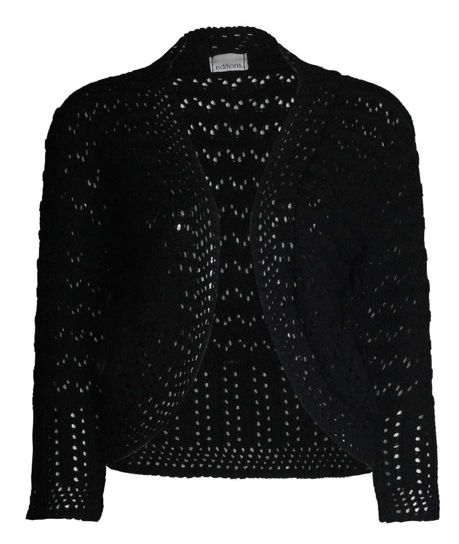 Forever Womens Short Sleeves Knitted Bolero Crochet Cardigan Shrug Top