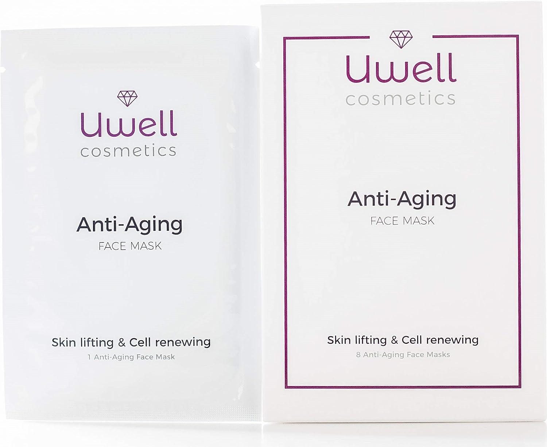 Uwell Anti-Aging Face Mask V/ég/étalien Masque en toison dhydrogel /à lAloe Vera Rajeunissante 8 pcs Masque en tissu premium Pack de 8 pcs. facial mask R/éduction des rides