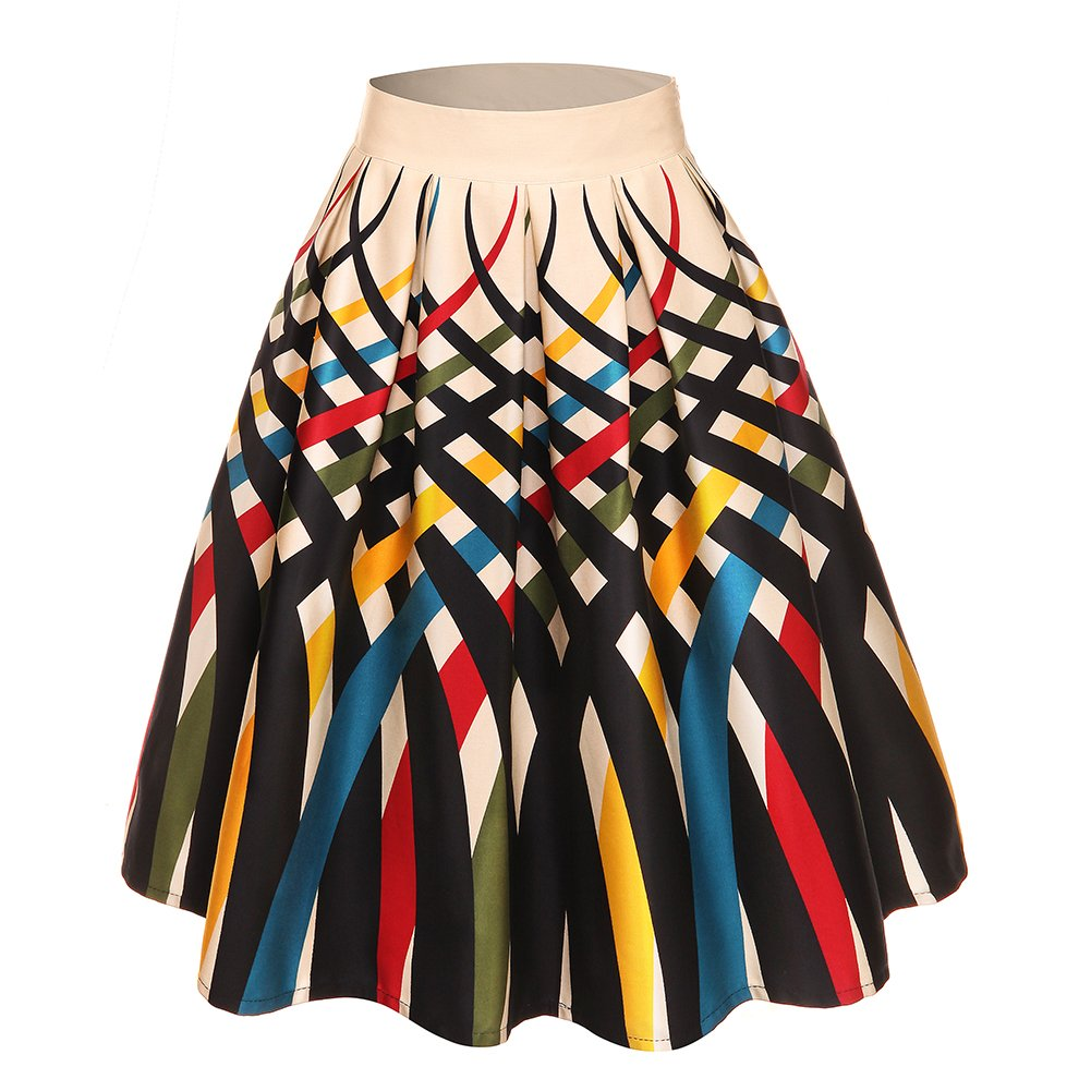 GAESHOW Women's Vintage Pleated Skirt High Waist Woven Strips Print Summer A-line Party Flared Skirts L