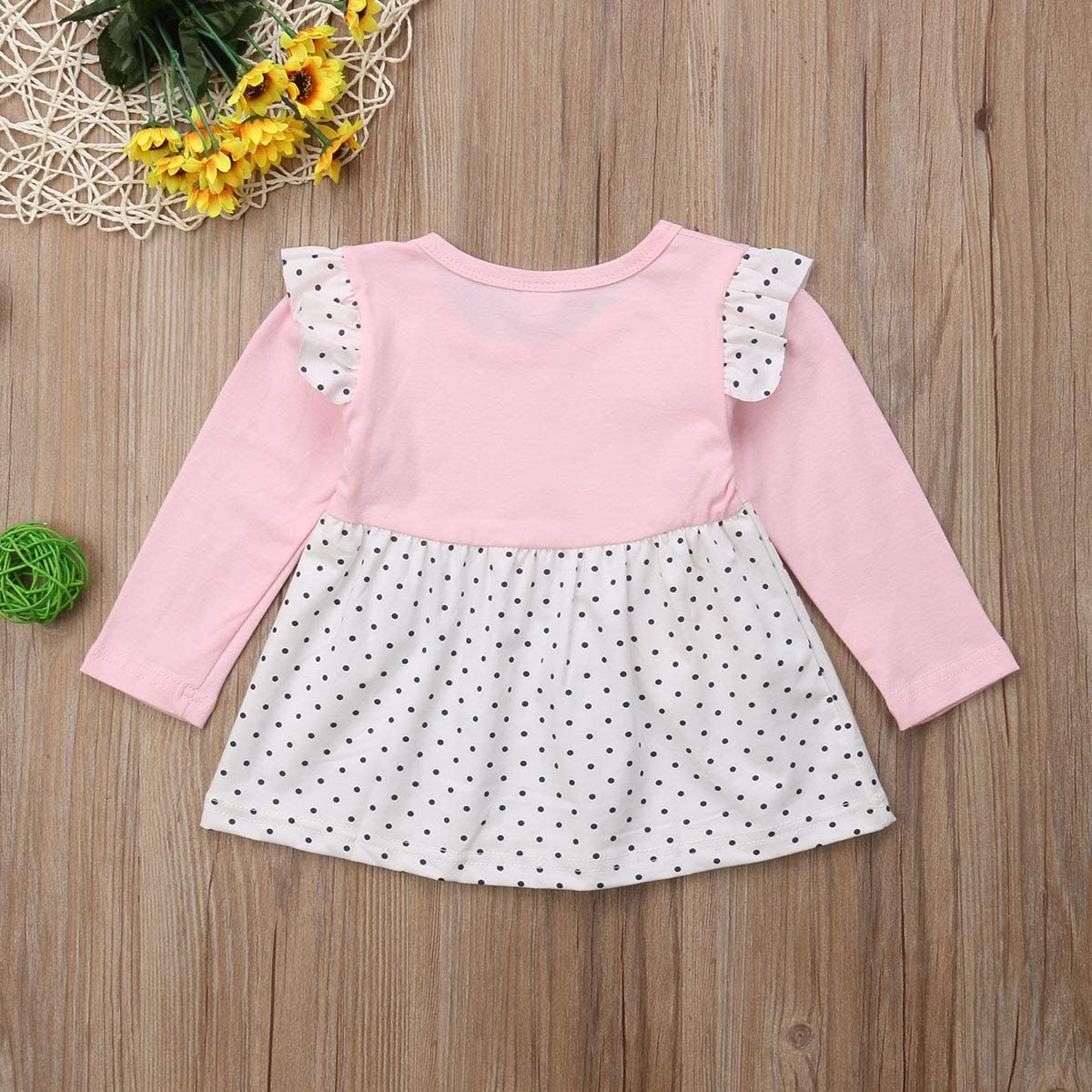Infant Toddler Baby Girl Long Sleeve Dress Strawberry Polka Dot Lace Casual Fall Winter Dress
