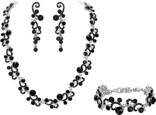 Ever Faith pour Femme Cristal Autrichien Mariage Fleur Collier+Boucle doreilles+Bracelet Parure