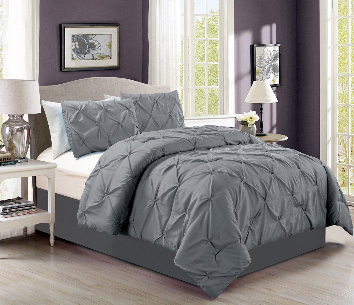4 Pieces Solid Taupe Pinch Pleat Goose Down Alternative Comforter Set (California) Cal King Size Bedding