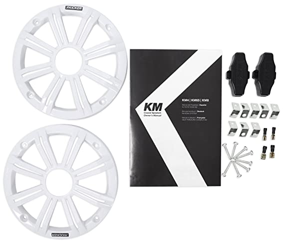 "Pair KICKER 45KM654 6.5/"" 390 Watt White Marine Wakeboard Tower Boat Speakers"