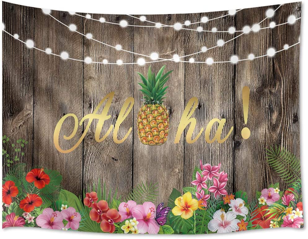 HVEST Hawaii Aloha Tapestry Pineapple Flower Wall Decor Luau Tropical Beach Wall Hanging Art Seaside Hula Background Wood Tapestry for Party Vacation Summer Beach Picnic Decoration 80Wx60H inches