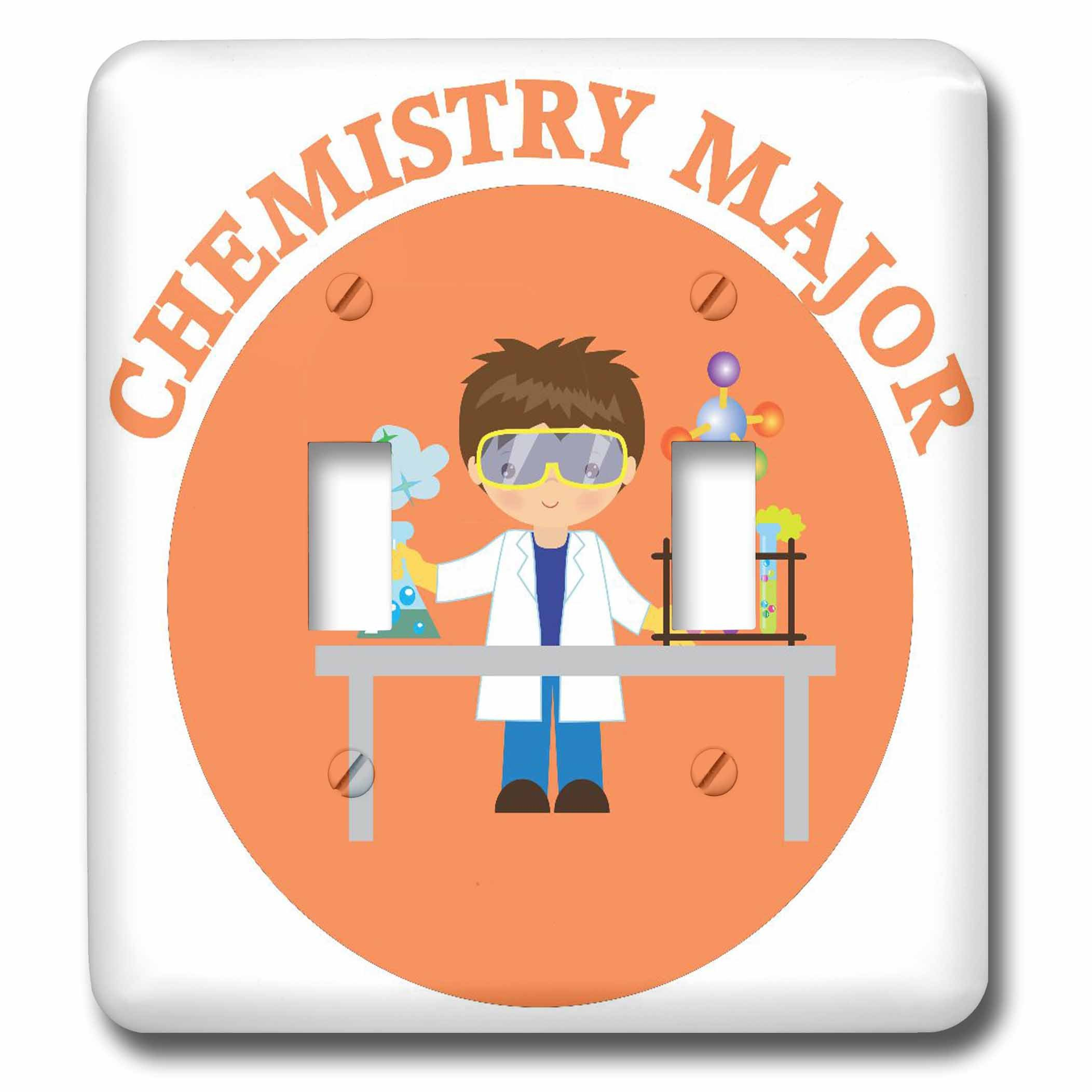 3dRose TNMGraphics School - Chemistry Major in Orange - Light Switch Covers - double toggle switch (lsp_286284_2)
