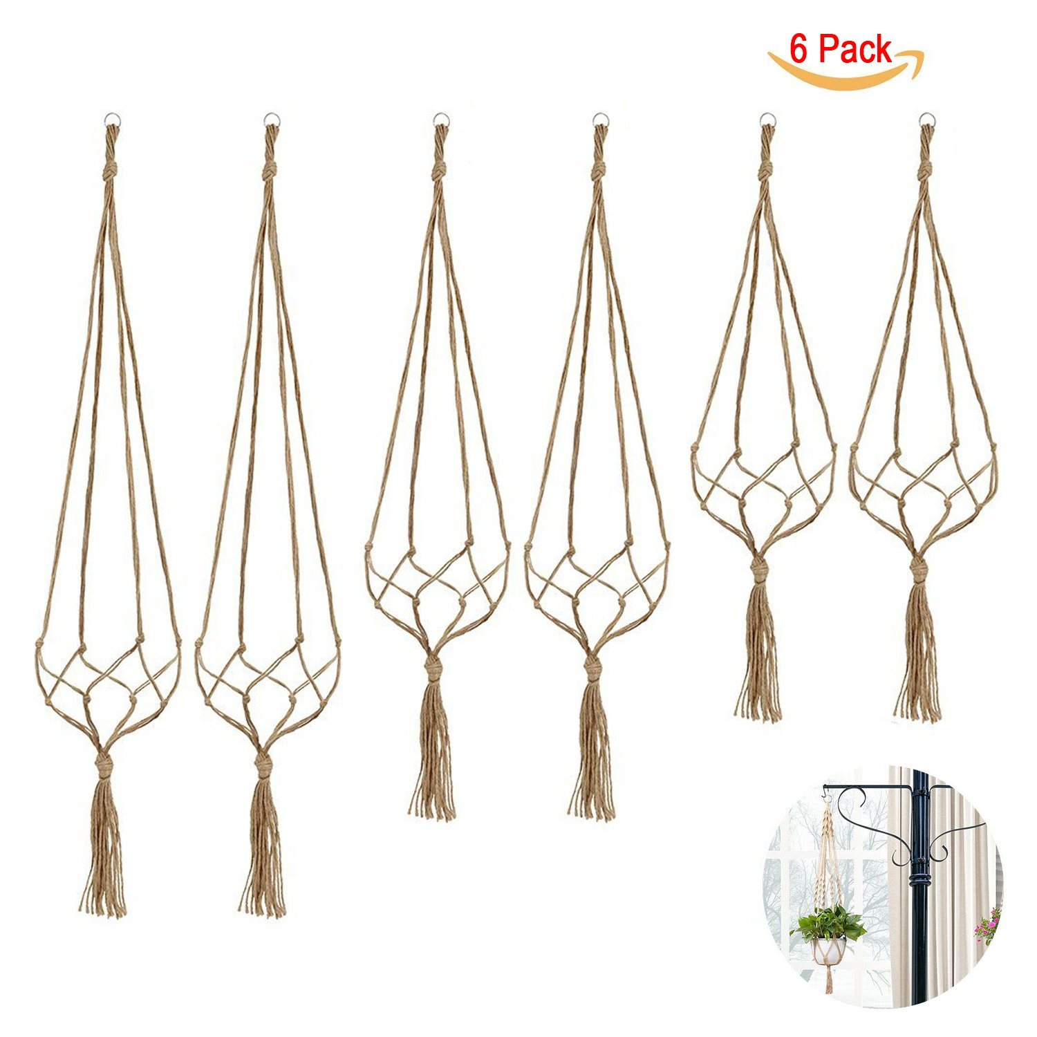 6 Pack Indoor Hanging Planter Holder, Plant Hanger, 3 Different Sizes (each size 2 pack) by Wendy Direct