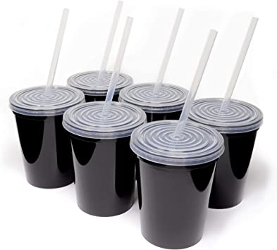Includes 6 Reusable Straws; Top Shelf Dishwasher USA Made; Plastic Tumblers and Lids 6 Pack Rolling Sands 16oz Reusable Plastic Stadium Black Cups with Lids