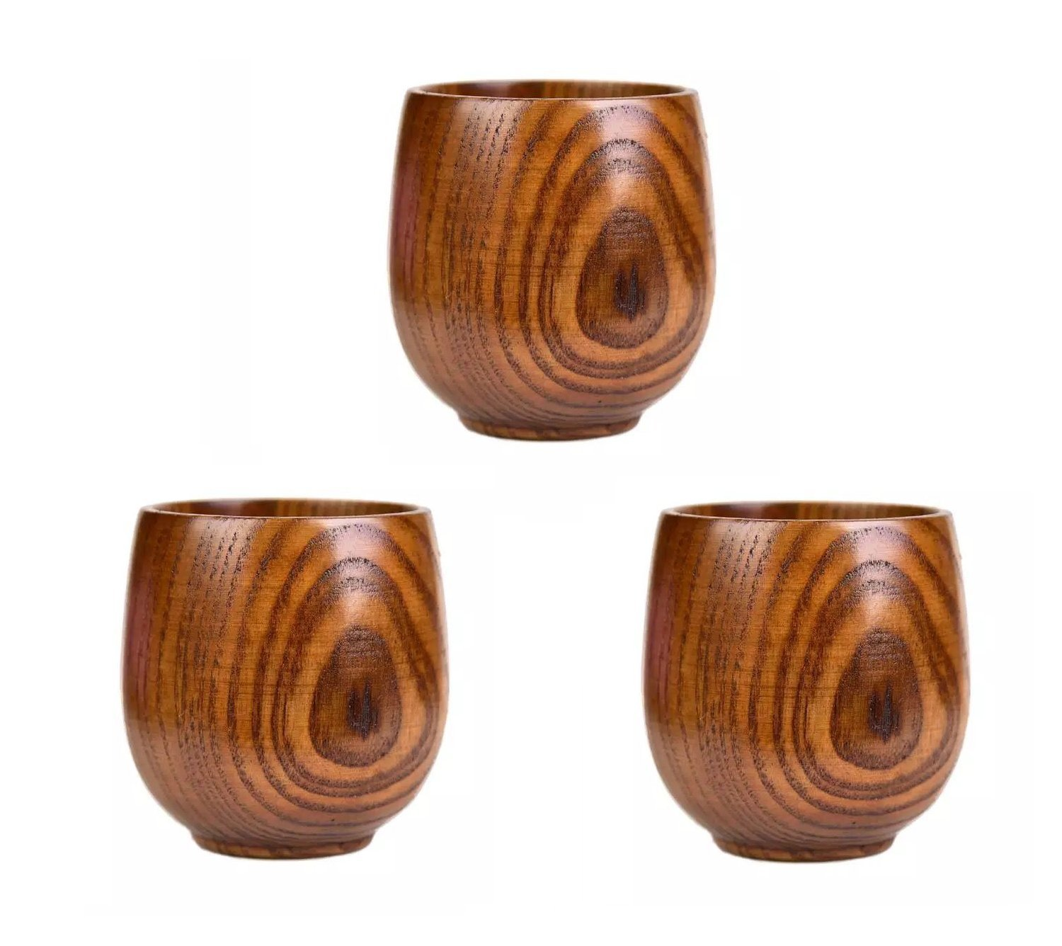 Astra Gourmet Top-Grade Natural Solid Wood Wooden Tea Cup Wine Mug Drinking Cup Coffee Mug 220ml, Set of 3 by Astra Gourmet
