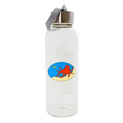 Una naranja pulpo y un Amarillo peces en el océano piso 420 ml botella de cristal