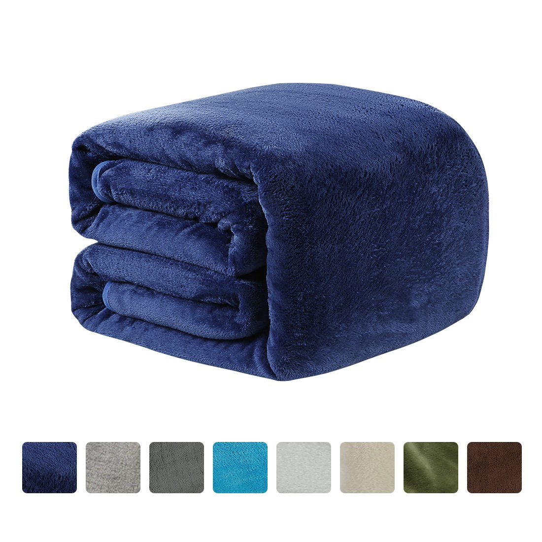 LEISURE TOWN Fleece Blanket Queen Size 330 GSM Soft Summer Cooling Breathable Luxury Plush Travel Camping Blankets Lightweight Sofa Couch Bed, 90 90 Inches, Royal Blue