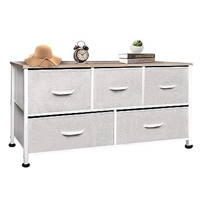Vertical Dresser Storage Tower Wood Top, Easy Pull Fabric Bins 4 Drawers (5-Beige Drawer Organizer)