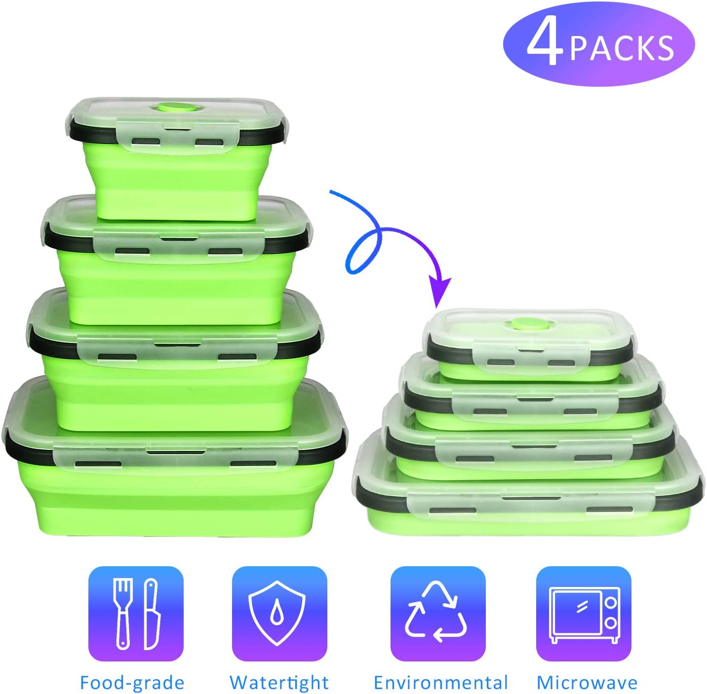 Silicone Collapsible Food Storage Containers,CREPOW Set of 4 Silicone Lunch box Containers for Kids or Kitchen, BPA Free, Microwave, Dishwasher and Freezer Safe (Green)