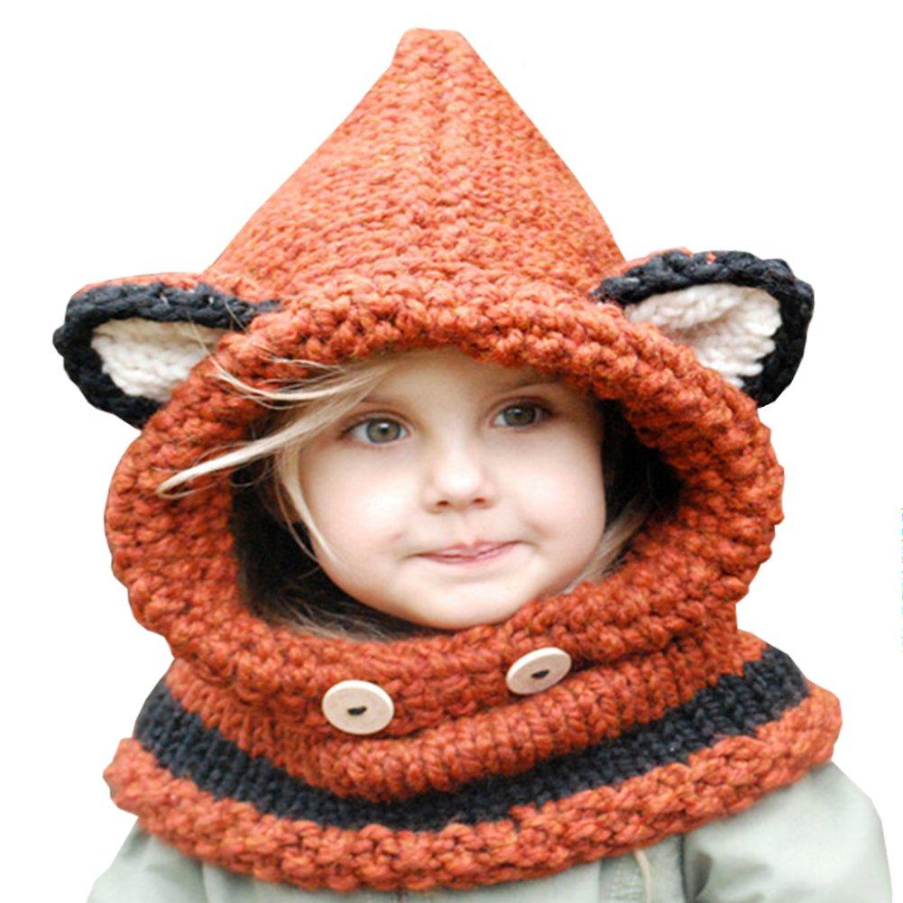 YUTUTU Los niños del bebé calientan los sombreros animales lindos Bufanda hecha punto de la capilla para el invierno del otoño