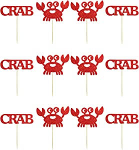 24PCS Crab Cupcake Toppers, Seafood Sign Food Picks, Baby Shower Party Supplies, Ocean Themed Birthday Party Decoration - Red Glitter