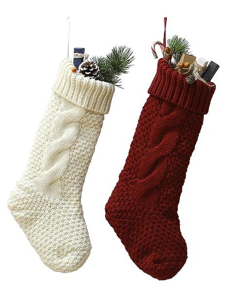 Crochet Christmas Stocking.Owlgift Crocheted Christmas Stockings 18 Inch Heavy Yarn Stocking Knit Xmas Socks Decoration Set Of 2 White Red