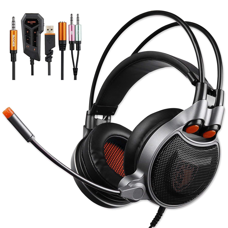 SADES SA929 Gaming Headset para PS4 Xbox One PC 7.1 Sonido envolvente virtual Channel Conversión de audio Auriculares, cancelación de ruido y control de volumen [playstation_4]