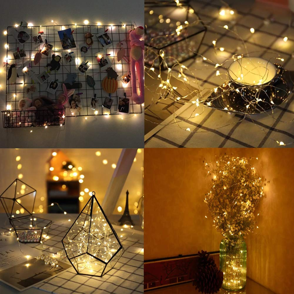 Battery Operated Fairy String Lights with for Dorm Room or Bedroom Decoration to Hang Cards Pictures Cards 50 LED Photo Clip String Lights Artwork /& Memos Warm White
