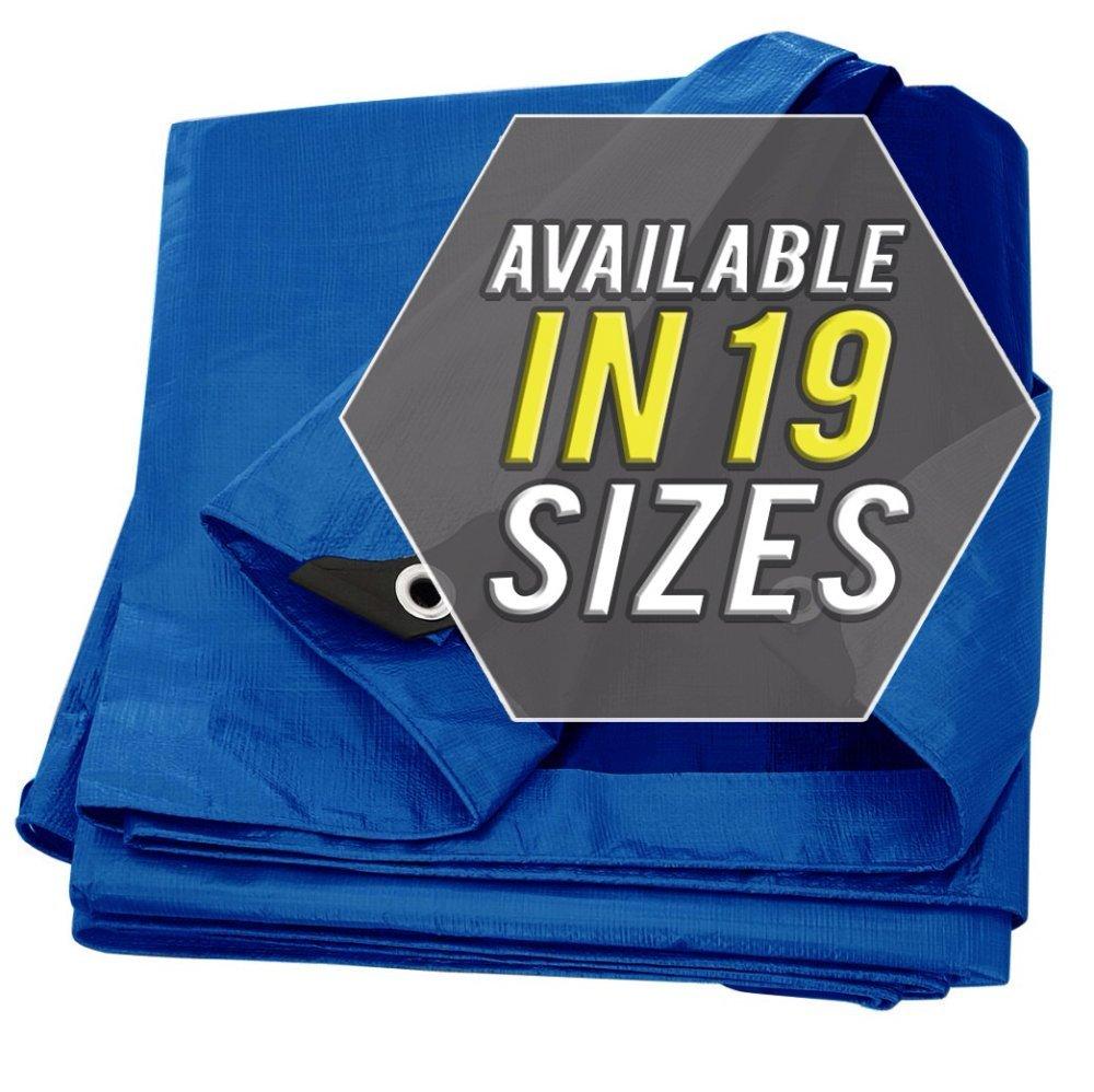 タープカバー シルバー/ブラック 高耐久 厚手素材 防水 防水性 ターポリン キャノピー テント ボート RV プール カバーに最適 ! 8x10 B07D9T6ZGG 8x10|Blue-Standard Blue-Standard 8x10