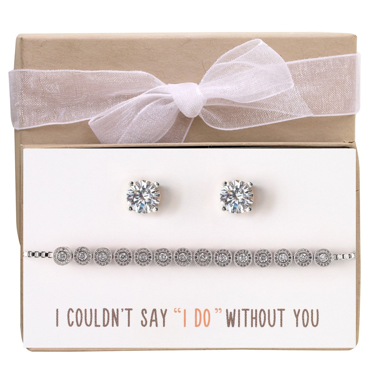 AMY O Wedding Bridesmaid Jewelry Gift, Bracelet and Earring Set in Silver
