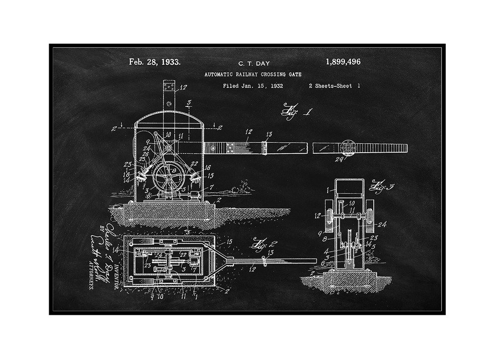 18x12 Framed Gallery Wrapped Stretched Canvas Blackboard Patent Railroad Crossing