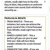 Horizon Hobby Brooklyn Peddler 4-Tone Pinewood Train Whistle
