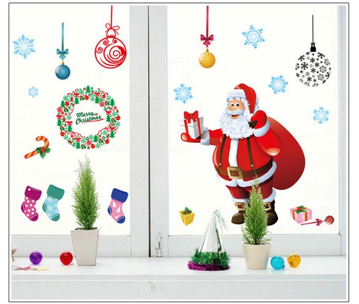 FINEJO New Christmas Wall Sticker DIY Santa Claus Xmas ...