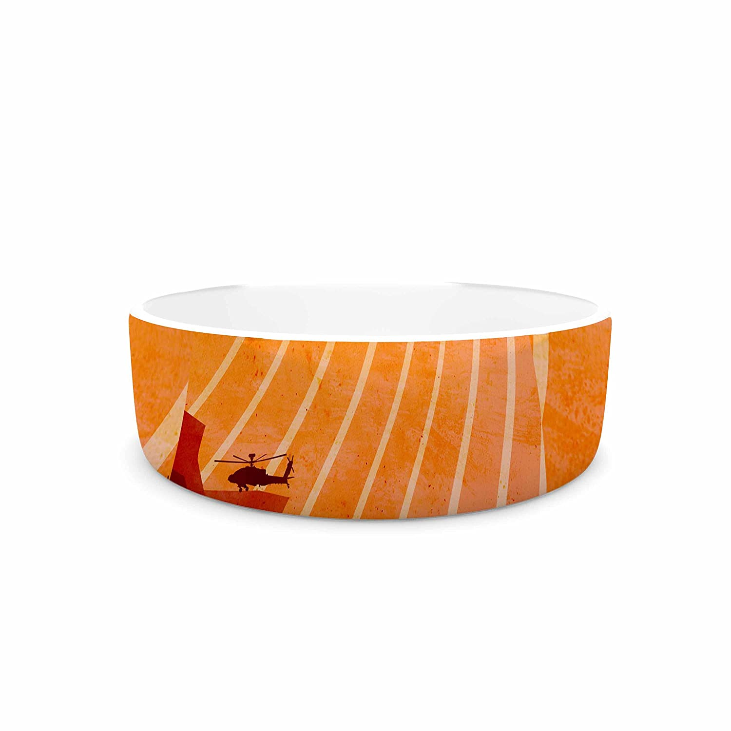 KESS InHouse BarmalisiRTB Landed Yellow orange Illustration Pet Bowl, 7  Diameter