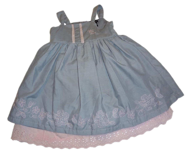 CALVIN KLEIN - wunderschönes Kleidchen - Kleid - Grau/Rosa mit Spitze, Unterrock & Höschen Gr. 80/86 (US 24 Monate)