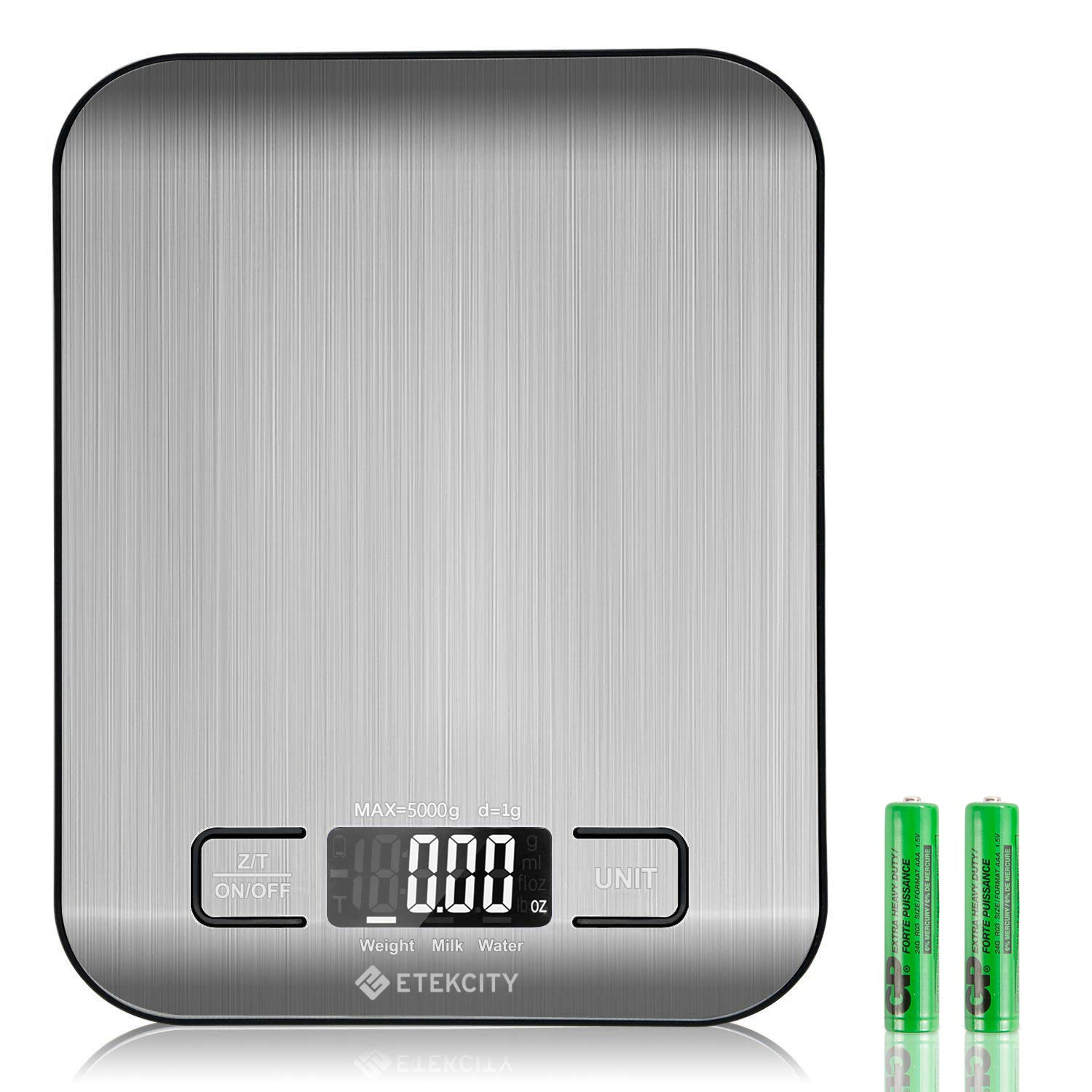 Etekcity Upgraded Digital Kitchen Food Scale Multifunction Small Scale, Back-lit LCD Display, 11 lb 5 kg, Stainless Steel (Batteries Included)