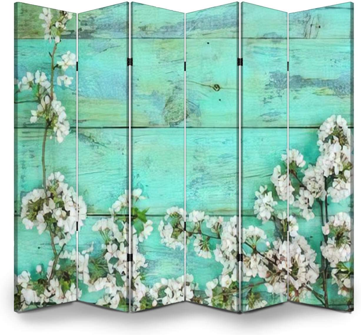 Wood Screen Room Divider Blank rustic mint green wood sign with white spring flowers border; Folding Screen Canvas Privacy Partition Panels Dual-Sided Wall Divider Indoor Display Shelves 6 Panels