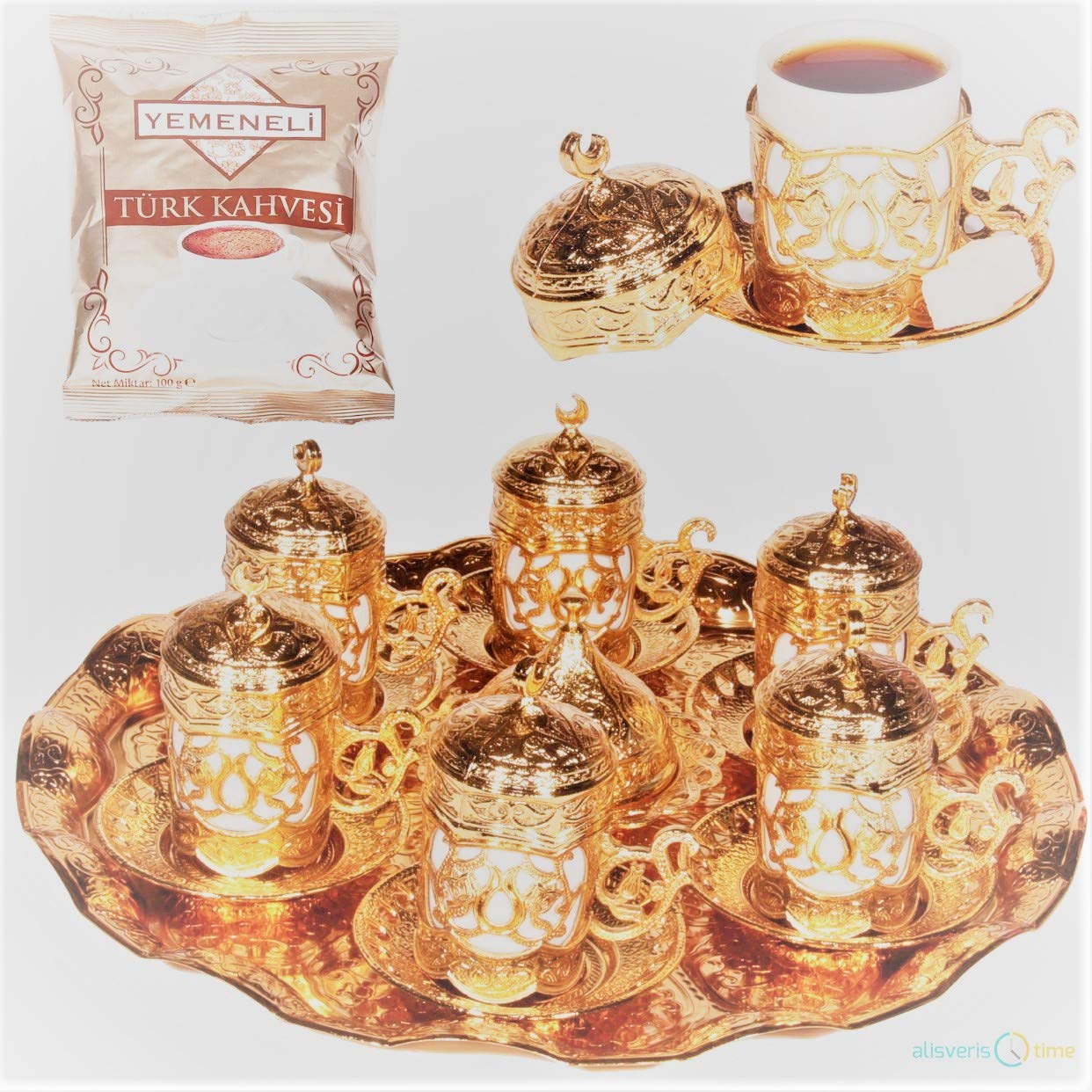27 Pc Ottoman Turkish Greek Arabic Coffee Espresso Serving Cup Saucer (Gold) Acur