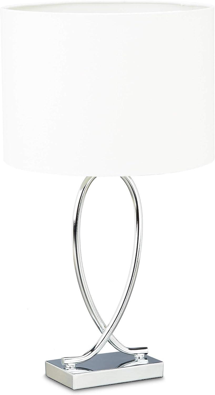 Relaxdays Lámpara de Sobremesa con Tulipa Redonda, Diseño Original, Hierro Cromado, 51 x 28 x 28 cm, Blanco-Plateado