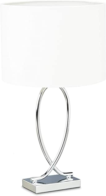 Relaxdays Lámpara de Sobremesa con Tulipa Redonda, Diseño Original ...