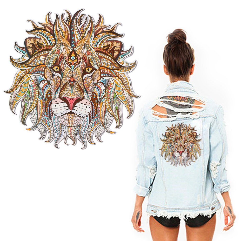 Anself Heat Transfer Vinyl Cloth Patch Sticker Cool 3D Lion King Lupo Adesivi per maglietta Tote Tote Tenda per la casa Decorazione fai da te W7708-4-BZL6YV