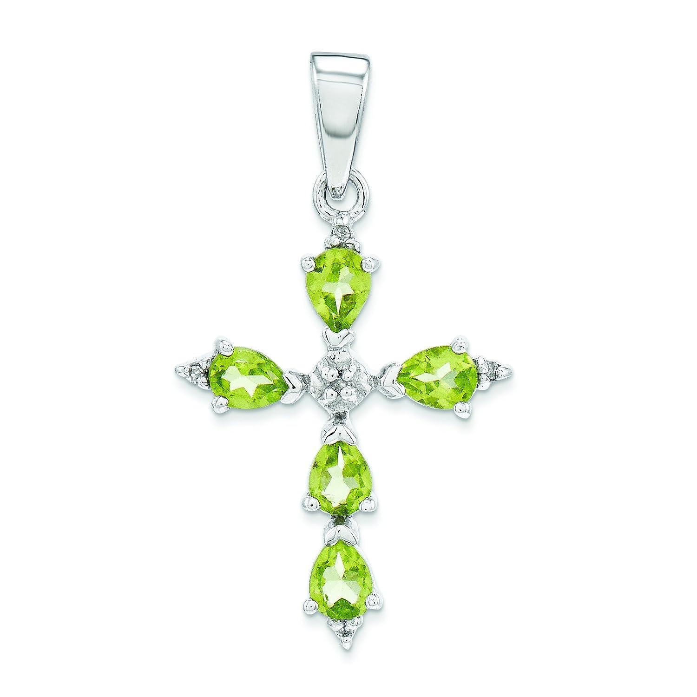 Sterling Silver Rhodium Pear Peridot Cross Pendant